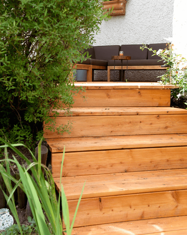 Terrasse B Treppenstufen aus Holz - Garten, Privatbereich