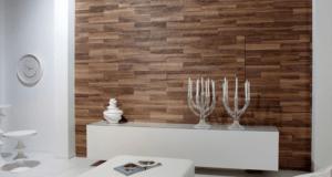 Wand mit Holz verkleidet