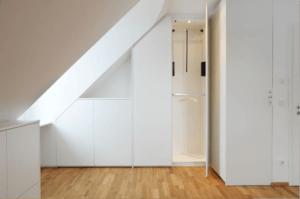Mansardenschrank F Frontansicht geöffnet - Privatbereich, Wohnen