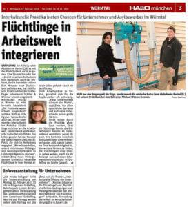 Zeitungsartikel Flüchtlinge in Handwerksbetrieben wie Schiller & Wimmer