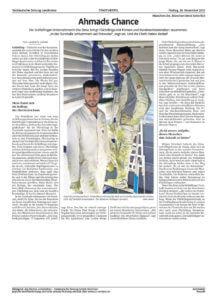 Zeitungsartikel Flüchtlinge in Handwerksbetrieben