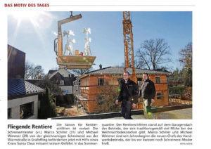 Zeitungsartikel Schiller & Wimmer befördern Rentierschlitten ins Sommerquartier