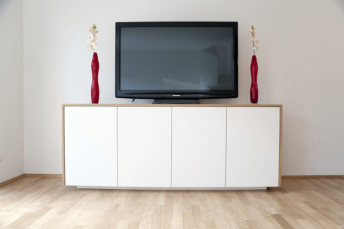 Sideboard W weiß und Holz Frontansicht - Privatbereich, Wohnen
